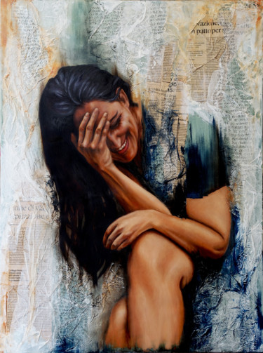 """Painting titled """"Portrait of a writer"""" by Pia Nicotra, Original Art, Oil"""