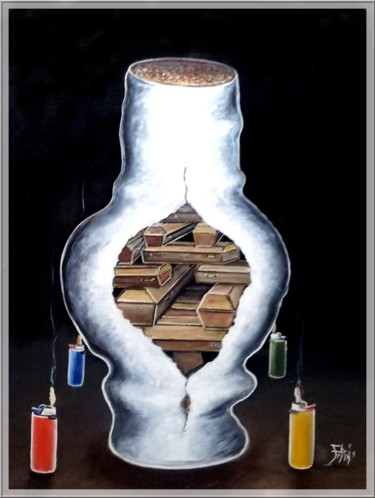 """Painting titled """"CIGARETTES MORTELLES"""" by Pierre Peytavin, Original Art, Oil Mounted on Cardboard"""