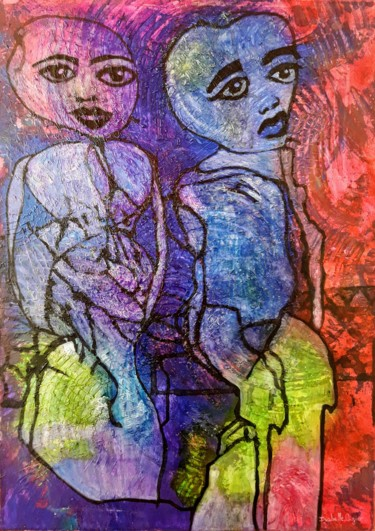 27.6x19.7x0.6 in ©2019 by Isabelle Lagier Pinkivioletblue Art