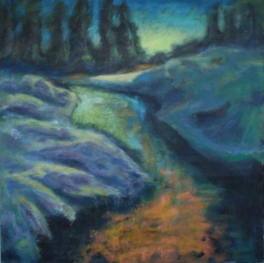 """Painting titled """"evening at Snowy Ri…"""" by Piotr, Original Art,"""