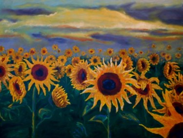 """Painting titled """"sunflowers"""" by Piotr, Original Art,"""