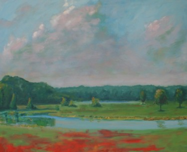 """Painting titled """"afternoon in a park"""" by Piotr, Original Art,"""