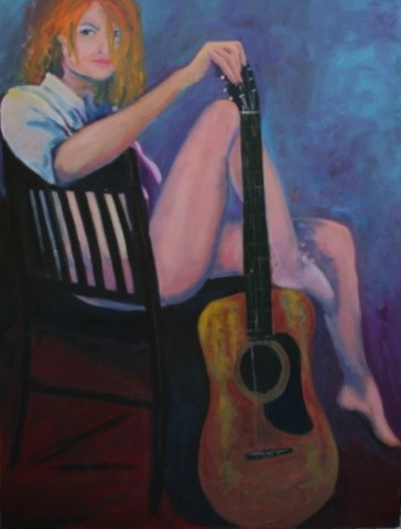 """Painting titled """"girl with guitar"""" by Piotr, Original Art,"""