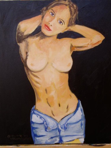 """Painting titled """"Girl in jeans"""" by Piotr, Original Art,"""