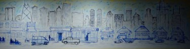 """Painting titled """"city mural"""" by Piotr, Original Art,"""