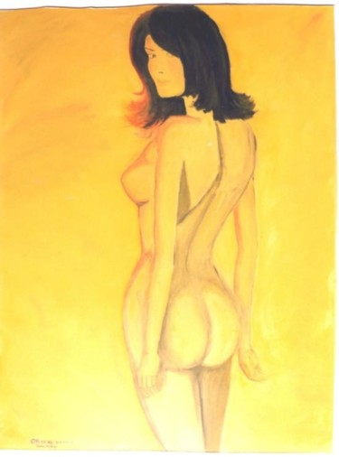 """Painting titled """"Figure yellow backg…"""" by Piotr, Original Art,"""