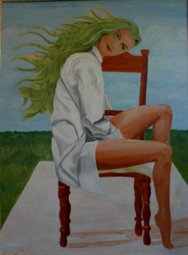 """Painting titled """"Girl on a chair"""" by Piotr, Original Art,"""