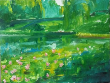 """Painting titled """"liles-with-bridge.j…"""" by Piotr, Original Art, Oil"""