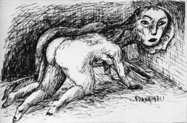 Love Drawing, ink, expressionism, artwork by Patrick Jannin