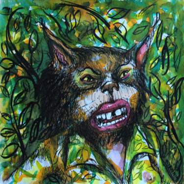 Cat Drawing, watercolor, expressionism, artwork by Patrick Jannin