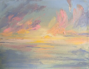 """Painting titled """"Sunset original oil…"""" by Полина Куприянова, Original Art, Oil Mounted on Stretcher frame"""