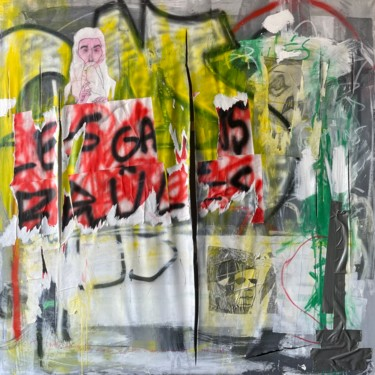 """Collages titled """"God Smoke"""" by Pol Attard, Original Art, Acrylic Mounted on Stretcher frame"""
