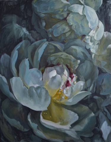 """Painting titled """"Blue reflections"""" by Polina Kharlamova, Original Art, Oil Mounted on Stretcher frame"""