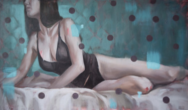 """Painting titled """"Woman in black ling…"""" by Polina Kharlamova, Original Art, Oil"""