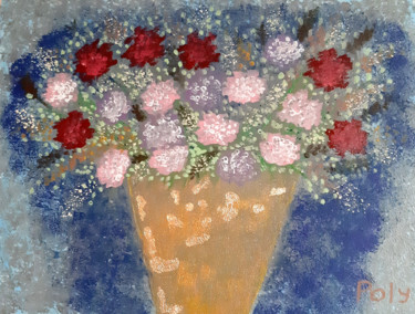 """Painting titled """"Vase with Flowers (…"""" by Vera Polyachenko, Original Art, Acrylic Mounted on Stretcher frame"""