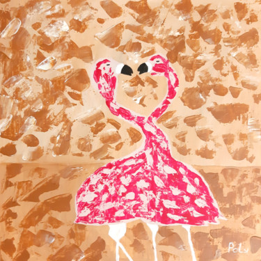 """Painting titled """"Flamingos in love (…"""" by Vera Polyachenko, Original Art, Acrylic Mounted on Wood Panel"""