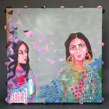 """Painting titled """"Sisters"""" by Poovi Art Gallery, Original Art, Acrylic Mounted on Stretcher frame"""