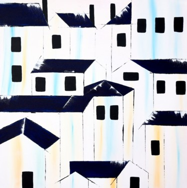 """Painting titled """"Blue roofs 21"""" by Poovi Art Gallery, Original Art, Acrylic"""