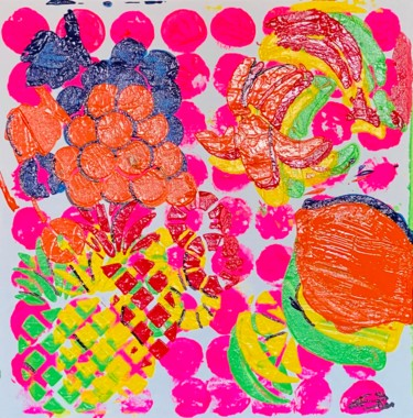 """Painting titled """"Fruit Plate"""" by Poptonicart, Original Art, Acrylic"""
