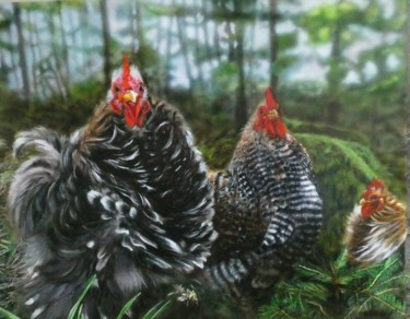 """Painting titled """"Rooster Attitude"""" by Maria Arias, Original Art, Acrylic Mounted on Other rigid panel"""