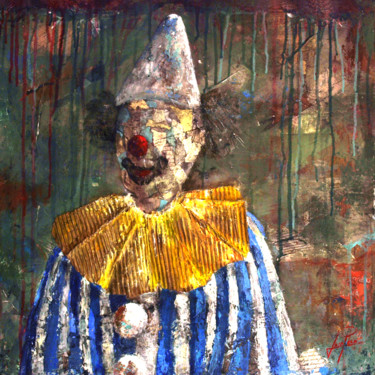 """Painting titled """"SERIE PAYASO 0006"""" by Josep Pozo, Original Art, Collages Mounted on Stretcher frame"""