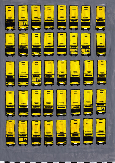 """Painting titled """"Yellow buses"""" by Volha Prankevich, Original Art, Acrylic"""