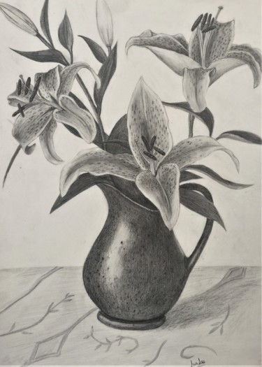 Flower Drawing, graphite, figurative, artwork by Celi̇L Ağa