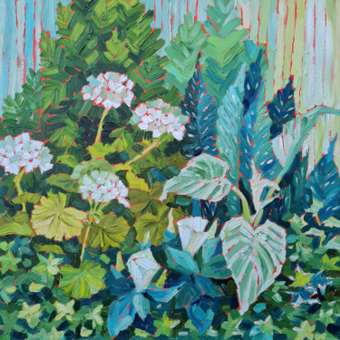 """Painting titled """"Green Composition"""" by Ekaterina Prisich, Original Art, Oil"""
