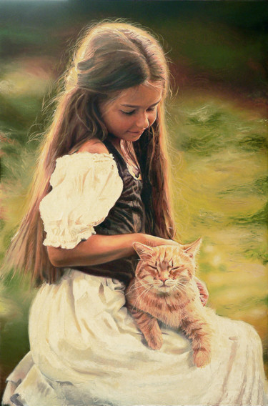 """Painting titled """"Girl with Red Cat"""" by Alexey Slusar, Original Art, Oil"""