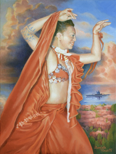 """Painting titled """"Dancer in Red"""" by Daniela Viecelli Ianculescu, Original Art, Acrylic Mounted on Stretcher frame"""