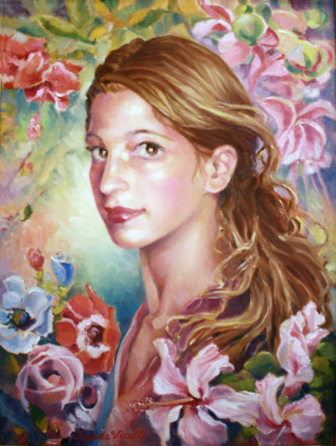 """Painting titled """"Portrait with Flowe…"""" by Daniela Viecelli Ianculescu, Original Art, Oil Mounted on Stretcher frame"""