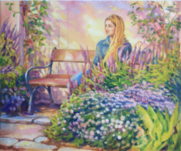 """Painting titled """"Figure in the Garden"""" by Daniela Viecelli Ianculescu, Original Art, Acrylic Mounted on Stretcher frame"""