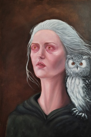 """Painting titled """"Master of the owls"""" by Rabia Dinç, Original Art, Oil"""