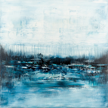 """Painting titled """"Blue abstract lands…"""" by Radek Smach, Original Art, Acrylic Mounted on Stretcher frame"""