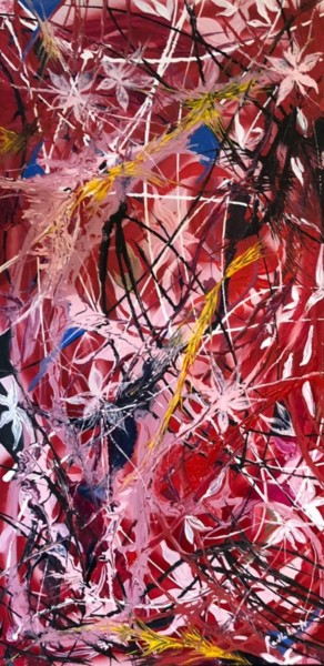 """Painting titled """"""""The Red Painting"""""""" by Radhika Naik, Original Art, Acrylic Mounted on Wood Panel"""