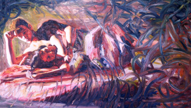 """Painting titled """"couple on bed man w…"""" by Raphael Perez, Original Art, Acrylic"""