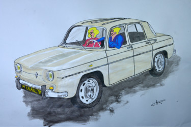 """Painting titled """"voiture ancienne R8…"""" by Christian Ragaine, Original Art, Acrylic"""