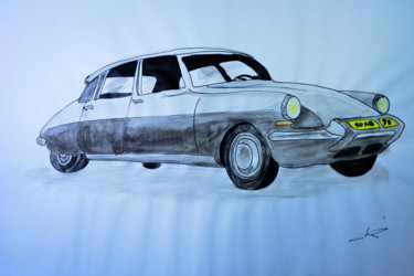 """Drawing titled """"voiture ancienne Ci…"""" by Christian Ragaine, Original Art, Watercolor"""