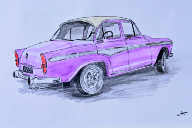 """Drawing titled """"Voiture Simca Arond…"""" by Christian Ragaine, Original Art, Watercolor"""