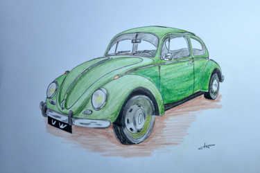 """Drawing titled """"Voiture Coccinelle"""" by Christian Ragaine, Original Art, Watercolor"""