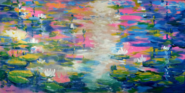 """Painting titled """"Water lilies in the…"""" by Rahmet, Original Art, Acrylic"""