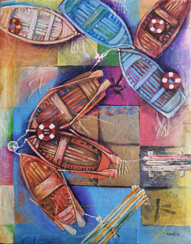 """Painting titled """"Boats for Vacations"""" by Rahmet, Original Art, Oil Mounted on Stretcher frame"""