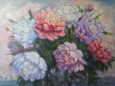 """Painting titled """"Peonies and Mountai…"""" by Rahmet, Original Art, Acrylic Mounted on Stretcher frame"""
