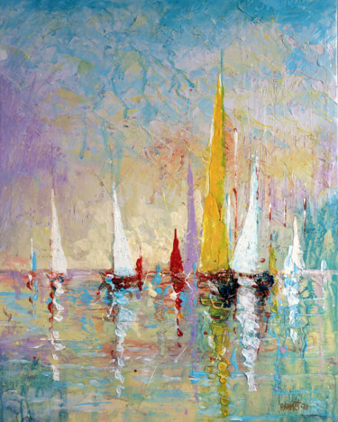 """Painting titled """"Regatta 4."""" by R_a_h_m_e_t, Original Art, Acrylic Mounted on Cardboard"""