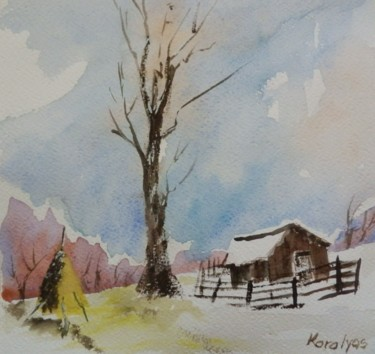 """Painting titled """"Winter landscape"""" by Maria Karalyos, Original Art, Watercolor"""