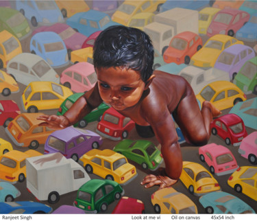 Everyday Life Painting, oil, conceptual art, artwork by Ranjeet Singh Singh