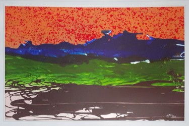 """Painting titled """"Abstraction au serv…"""" by Pierre Ratelle, Original Art, Acrylic Mounted on Stretcher frame"""
