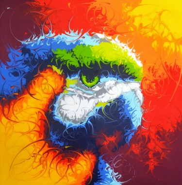 """Painting titled """"Parrot"""" by Reba, Original Art, Acrylic Mounted on Wood Panel"""