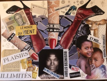 """Collages titled """"Business story"""" by Rebecca Raïc Soria, Original Art, Collages"""