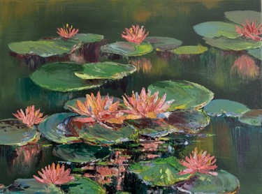 """Painting titled """"""""Lilies in summer"""""""" by Reda Pinchera, Original Art, Oil"""